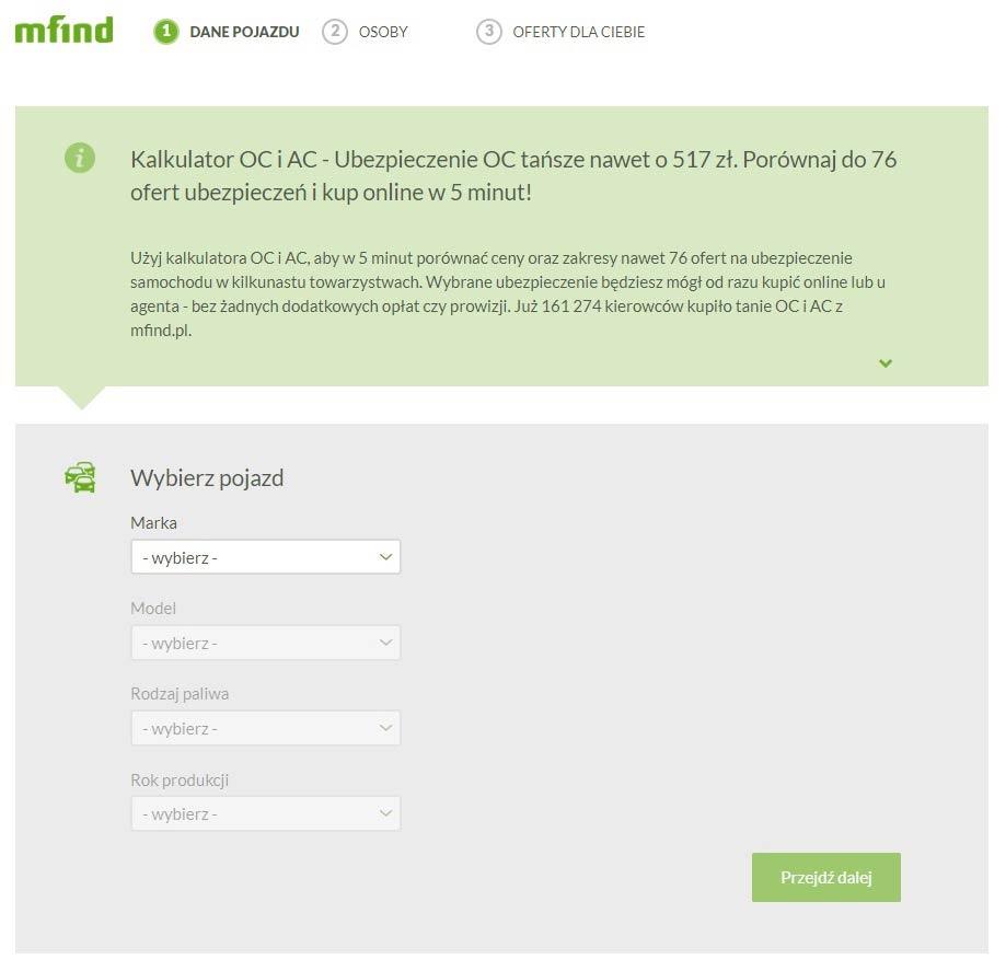 Mfind.pl - Jak wygląda kalkulator, porównywarka OC, AC?