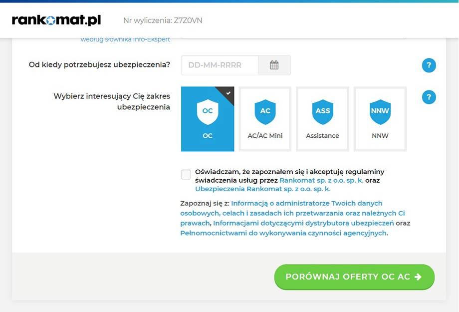 Rankomat.pl - Jak wygląda kalkulator, porównywarka OC, AC?